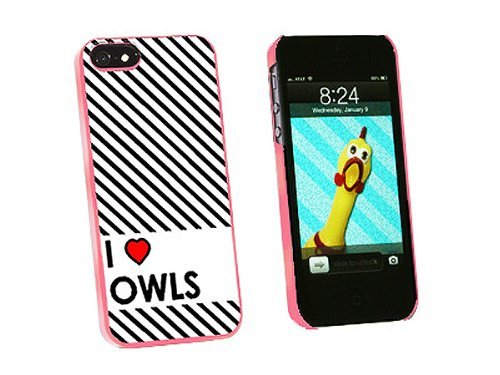 Graphics and More I Love Heart Owls Snap-On Hard Protective Case for iPhone 5/5s - Non-Retail Packaging - Pink