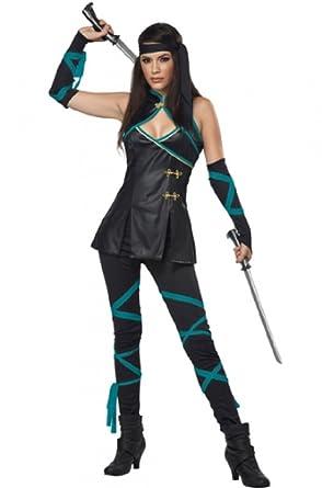 Amazon Com Faerynicethings Adult Size Female Black Ninja Costume