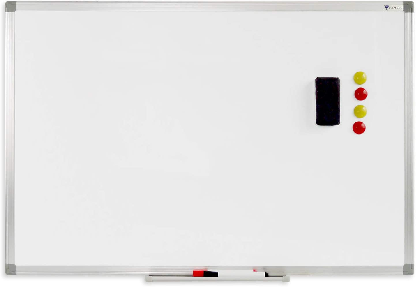 V VAB-PRO 24x36 inch Magnetic Dry Erase White Board w/Pen Tray, Accessories & Installation Kit; Wall Mount, Aluminum Frame. for Office, Home and School- WYP1272436