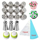 Russian Piping Tips Cake Decoration Tips Set for Cupcakes Decorating Cookies Pastry Making DIY Tools (29pcs) Stainless Steel Piping,Couplers Reusable Silicone Pastry Bag,Disposable pastry bag