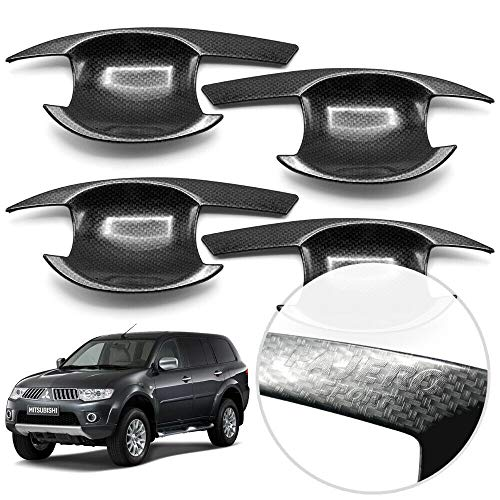 2011 Mitsubishi Montero Sport - Nonstops Set Black Fiber Carbon Film Bowl Insert Handle Door Cover Trim 4 Door for Mitsubishi Pajero Montero Sport SUV 2010 2011 2012 2013 2014 2015