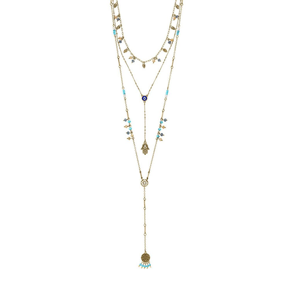 Long Necklaces 3 layers Kiss Crystal Pendant Adjustable Y Necklace for women (12#)