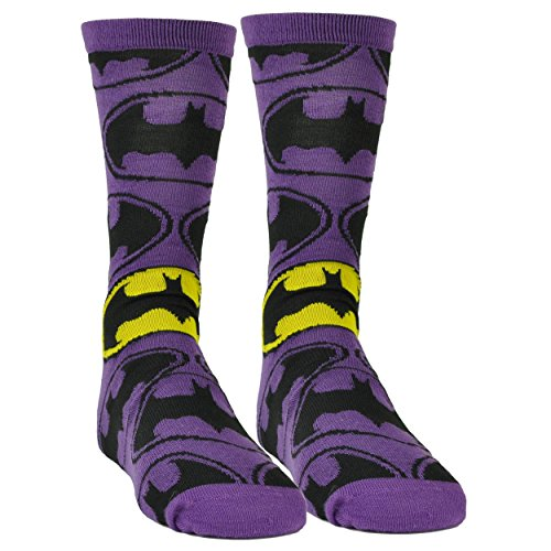 Batman-Long-Sock-Size-6-12-Super-Hero-DC-Comic-Book-Cartoon-Purple-Black-Movie