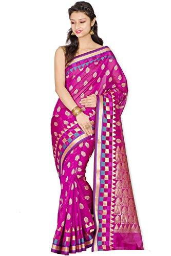 (Chandrakala Women's Cotton Silk Blend Banarasi Saree with Unstitched Blouse Piece (1037PIN))