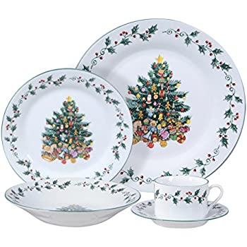 Gibson Home Tree Trimming 20-Piece Ceramic Dinnerware Set White  sc 1 st  Amazon.com & Amazon.com: Lenox Holiday 12-Piece Dinnerware Set: Kitchen u0026 Dining