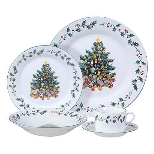 (Gibson Home Tree Trimming 20 Piece Dinnerware Set - Christmas Theme)