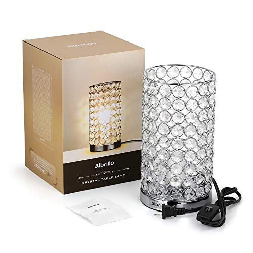 Crystal Table Lamp - Albrillo, Accent Desk Lamp Bedside Lamps, Modern Table Light with Silver Shade, Nightstand Lamps for Bedroom, Living Room by Albrillo (Image #7)