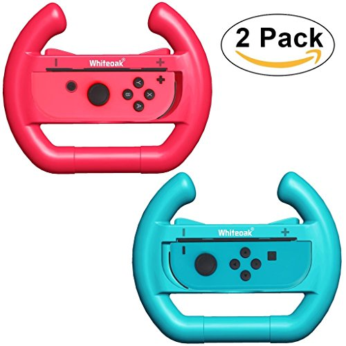 Whiteoak Joy-Con Wheel [Upgraded Version] (Set of 2) Accessories kit Attachments Steering Wheel for Nintendo Switch Controller(Red+Blue)