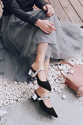Pu La Sandalias Para Ahuecados Carrera Y Moda Caminar A pantuflas Zapatos Fiesta Summer Vestido Un Chanclas De Comfort Xue Mujer Noche Transpirables Oficina qtZWY