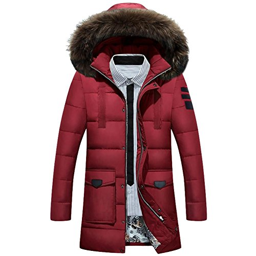 Down Size Thicker Warm Men M Keep Jacket Hooded Removable red Coats Collar Long wine Zipper Xxxl Fur 1ARA5q