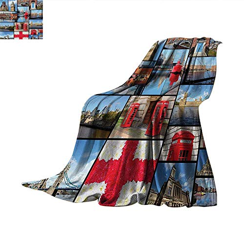 EnglandDouble Personal blanketEngland City Red Telephone Booth Clock Tower Bridge River British Flag with FlowersAir Conditioning Blanket 60