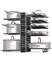 BQKOZFIN 8-Tier Adjustable Metal Pot and Pan Organizer Rack, 3 DIY Use Methods, Pot Lid Holders for Kitchen Cabinet Or Cooktop, Vertical & Horizontal Storage, Black