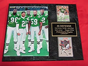 Eagles 46 Defense REGGIE WHITE JEROME BROWN Simmons Joyner 2 Card Collector Plaque w/8x10 Photo