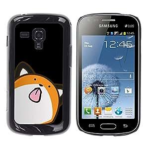Caucho caso de Shell duro de la cubierta de accesorios de protección BY RAYDREAMMM - Samsung Galaxy S Duos S7562 - Cat Animation Drawing Art Licking Tongue