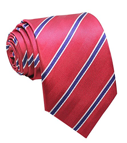 Silk Striped Neckwear - Secdtie Men's Classic Red Blue Striped Jacquard Woven Silk Tie Formal Necktie