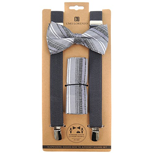 Men's Distressed Striped Gray 3 PC Clip-on Suspenders, Bow Tie and Hankie Set