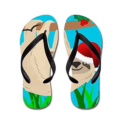 CafePress Santa Sloth - Flip Flops, Funny Thong Sandals, Beach Sandals Black