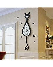 Chat Modélisation BRICOLAGE Horloge Murale, GZD 3D Grand Fer Horloge Murale En Métal Salon Horloge Murale Maison Art Décoration, 74 * 20 Cm, Sans Batteries
