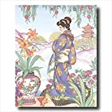 Japanese Girl Woman In Garden Asian Contemporary Wall Picture 16x20 Art Print