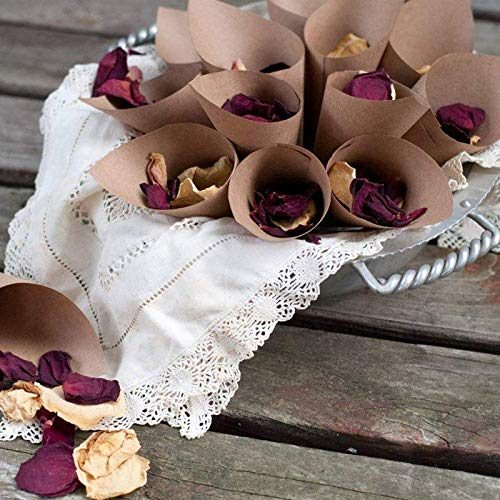 Confetti Cones - 50Pcs/Set Retro Folding Kraft Paper Confetti Cone Bouquet with Hemp Ropes for Wedding DIY Decoraion and Gifts Packing Party