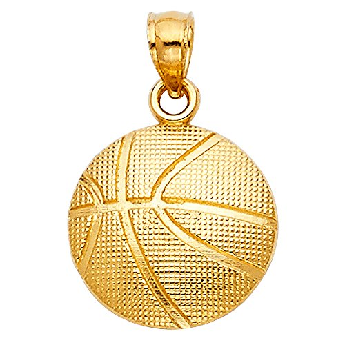 - Ioka - 14K Yellow Gold Basketball ball Charm Pendant For Necklace or Chain