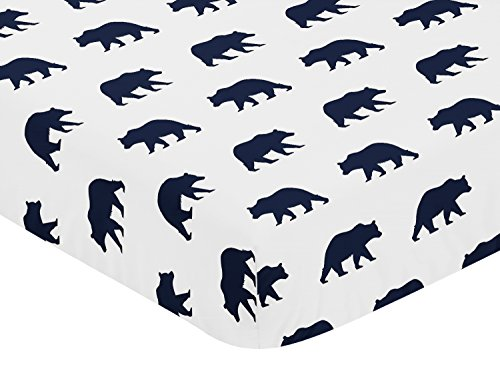 Sweet Jojo Designs Navy Blue and White Bear Print Baby or Toddler Fitted Crib Sheet for Big Bear Collection by - Navy Bear