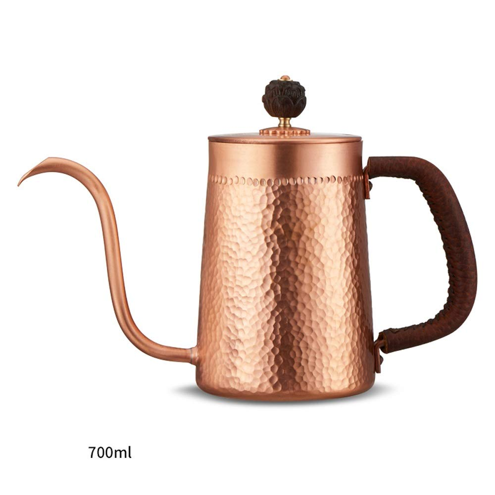 XXJF Copper Thin Mouth Pot Manually Beaten 2CM Spout Design Pour Into The Pot Gooseneck Design Drip Kettle Suitable for Home Cafes Etc. (Size : 700ml) by XXJF