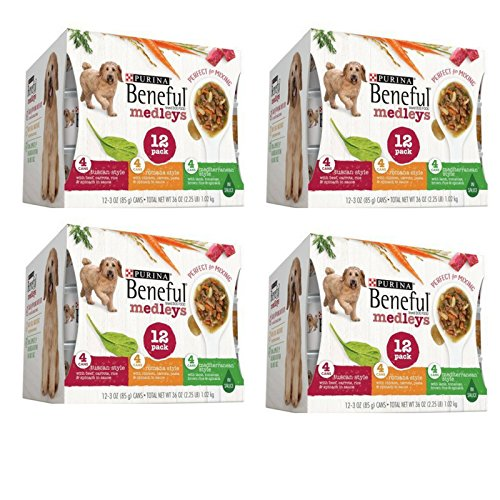 Purina Beneful Medleys Tuscan, Romana & Mediterranean Style Variety Pack Wet Dog Food, 3 Oz, Case of 12-4 Pack