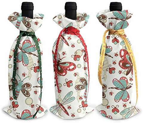 ワインバッグ クリスマスボトルカバー シャンパンワインボトル3本用 花柄 トンボの蝶 ワイン収納 ボトル装飾 ギフトバッグ ギフトパッケージ クリスマスデコレーショ ワインボトルワインバッグ ギフトバッグ シャンパンプロップ クリスマス用品 ディナーテーブル デコレーションク