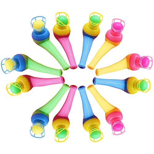 Funpa 12PCS Pipe Ball Toy Magic Blowing Pipe Floating Ball Toy Kids Party Favor Toy (Random Color) ()