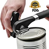 Food-Safe Stainless Steel Manual Professional Smooth Edge Safety Can Opener with Easy Turn Knob, Soft Comfortable Ergonomically Designed Anti Slip Grips Handle - Black