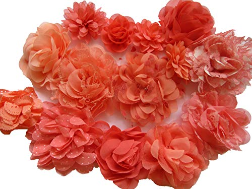 YYCRAFT 15pcs Coral Chiffon Lace Hair Flower for Girls Headband Baby Flowers Bows,Crafts,Party Decoration(2