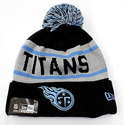 Tennessee Titans New NFL 2015-2016 New Era Authentic Biggest Fan Redux Beanie Hat Knit Cap Cuffed w/ Pom OSFM Gray Blue