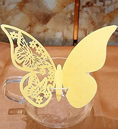 Amazon.com: 50pcs Butterfly Wedding Party Table Number Name Paper ...