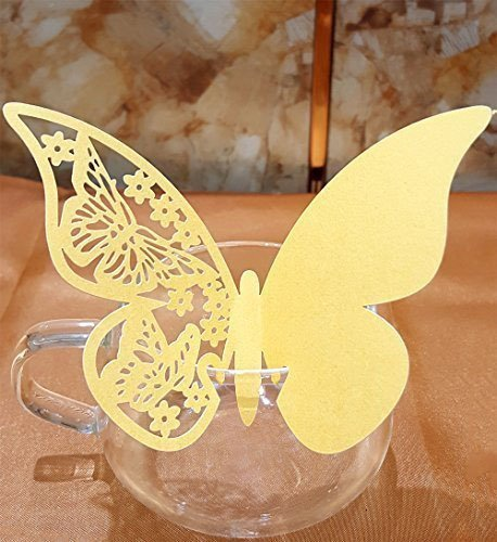 50pcs Butterfly Wedding Party Table Number Name Paper Place Cards Wine Glass Cup Decoration Wall Decals Sticker For Wedding Party Favor [Gold]