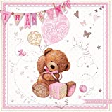 Multi Pack 36 Thank You For The Baby Gift Cards & Envelopes - Baby Girl Bear by Simon Elvin