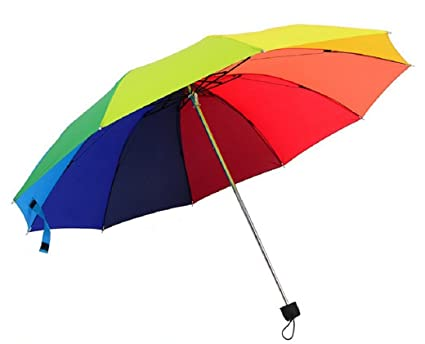 Rainbow color 10 Rib Strong Enough Wind Resistant Frame, Collapsible, Compact and Durable,