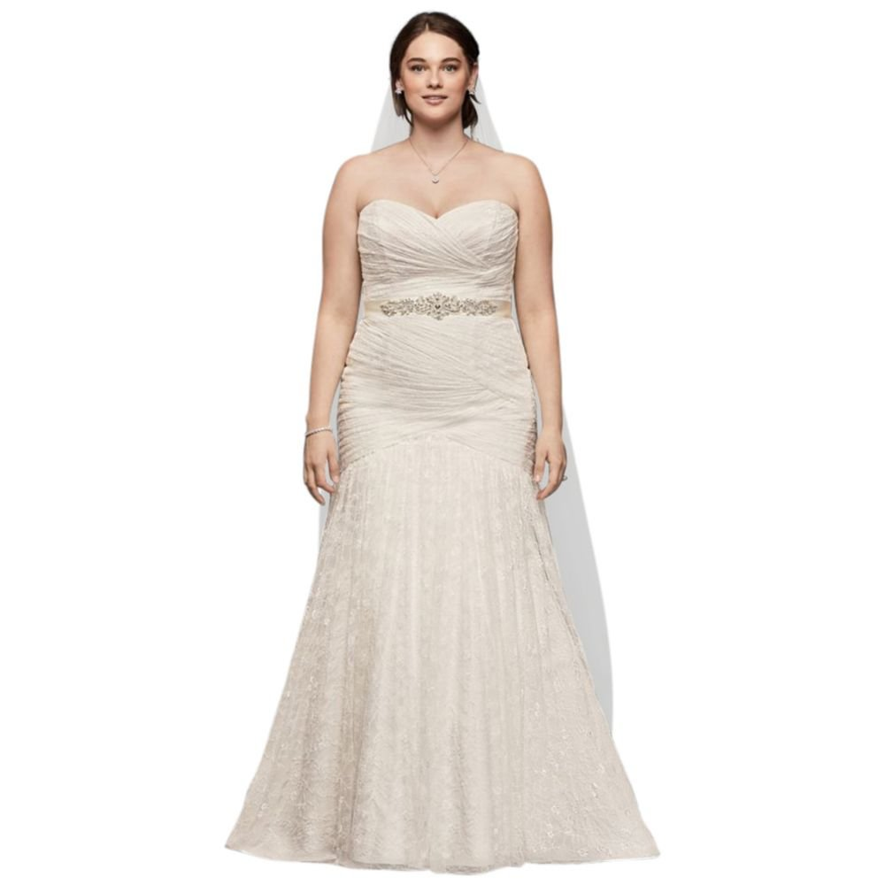 Sample As Is Allover Lace Mermaid Plus Size Wedding Dress Style