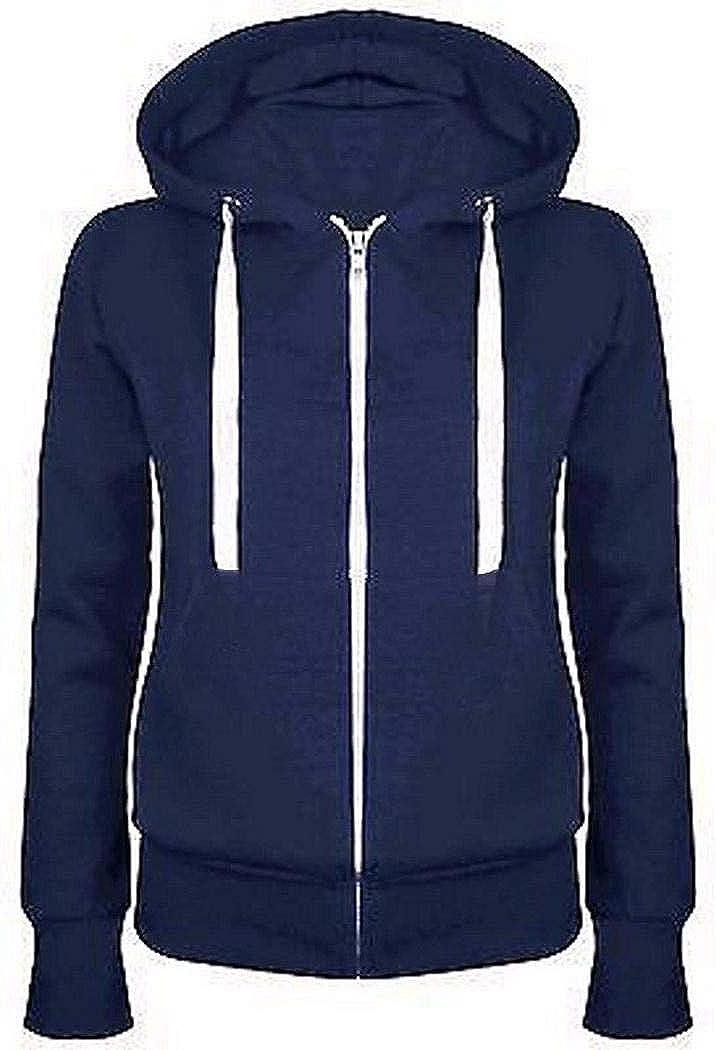 TEXXIS Womens Casual Zip-up Hoodie Long Sleeve Drawstring Hooded Sweatshirt Jacket Coat with Pocket
