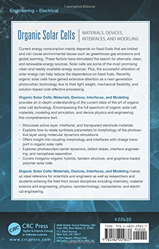 Organic Solar Cells: Materials, Devices, Interfaces, and Modeling