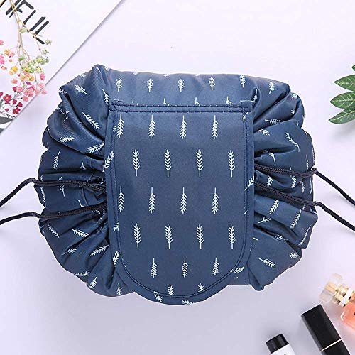 Fashion Drawstring Cosmetic Bag Travel Lazy Makeup Storage Bag Portable&Waterproof Quick Pack Large Cosmetic Bag Dual Magic Bags With Zipper&Drawstrings Brush Holder Carry (BLUE)