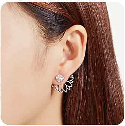 e7a5e9f45 Sun Flower with Cz Crystal Ear Cuff Earrings Jacket Double Sided Earrings  Ear Cuffs Hoop Climber