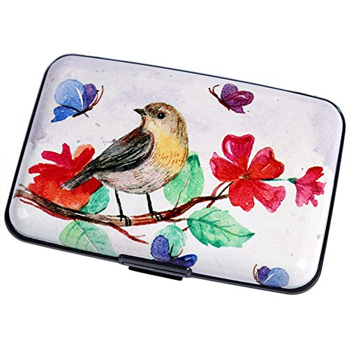 Metal Business Card Case Holder - Aluminum Wallet RFID Blocking Metal Credit Card Holder Slim Hard Case (Watercolor Magpie)