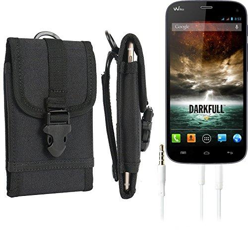 bolsa del cinturón / funda para Wiko Darkfull, negro + Auriculares | caja del teléfono cubierta protectora bolso - K-S-Trade (TM)