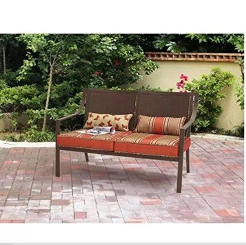 Mainstays Alexandra Square Patio Loveseat Bench, Orange Stripe KUS795W