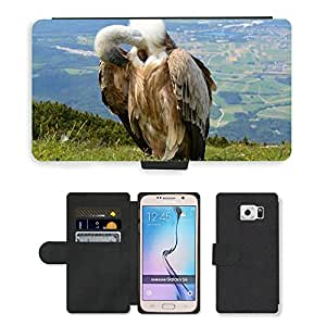 mobile phone case PU LEATHER case coque housse smartphone Flip bag Cover protection//M00109096 Buitre de aves Aas Cara Salzburgo//Samsung Galaxy S6 (Not Fits S6 EDGE)