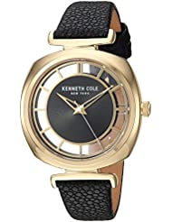 Kenneth Cole New York Womens Transparency Quartz Brass-Plated-Stainless-Steel and Leather Dress Watch, Color...
