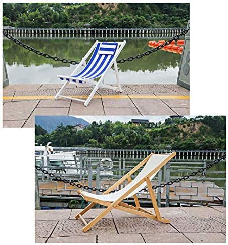 WFH Gehobener hölzerner klappbarer fauler Deck-Liegestuhl mit Kissen Tragbarer Erwachsener Balkon Schlafzimmer Camping Strand Rot + Weiß Streifen Lastgewicht 80 kg