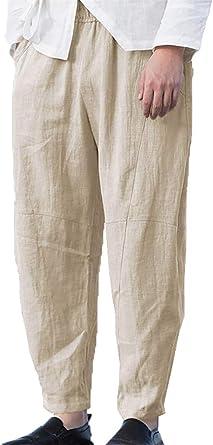 Amazon Com Taoliyuan Pantalones De Lino Para Hombre Estilo Casual Holgados Cintura Elastica Con Cordon Y Bolsillos Clothing