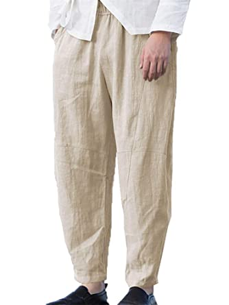 bd4f8834ca Enjoybuy Mens Summer Linen Cotton Long Pants Loose Fit Drawstring Elastic  Waist Yoga Beach Casual Trousers